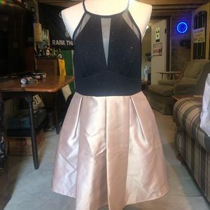 Teeze Me Black and Gold Homecoming Dress